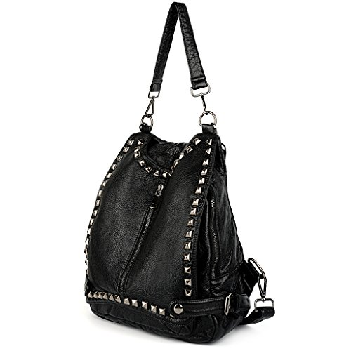 UTO Women Backpack Purse PU Washed Leather Rivet Studded Convertible