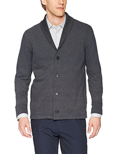 Billy Reid Men's Elliot Knit Shawl Collar Jacket, Charcoal, M