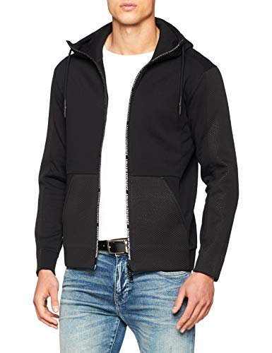 A|X Armani Exchange Men's Mesh Detailed Cotton Zip-Up Hoodie, Black, L