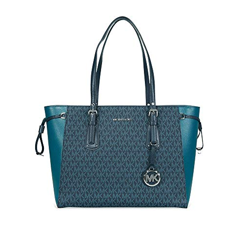 MICHAEL Michael Kors Voyager Medium Multifunction Top-Zip Tote (Luxe Teal/Admiral)