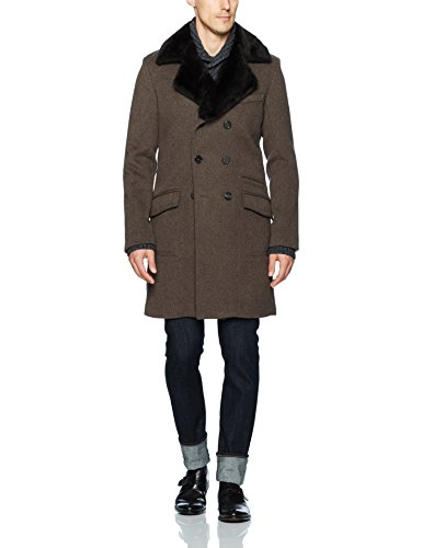 Billy Reid Men's Detachable Fur Collar Double Breasted Cashmere Bowery Coat, Brown, Medium