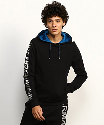 A|X Armani Exchange Men's Athletic Logo Hoodie, Black, M