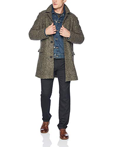 Billy Reid Men's Single Breasted Lancaster Car Coat with Leather Details, Grey/Olive, L