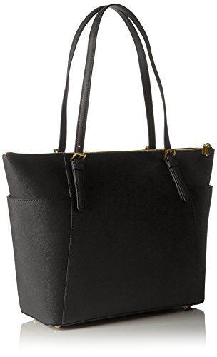 Michael Kors Women Jet Set Large Top-zip Saffiano Leather Tote Shoulder Bag, Black (Black), 12.7x29.8x31.8 cm (W x H x L)