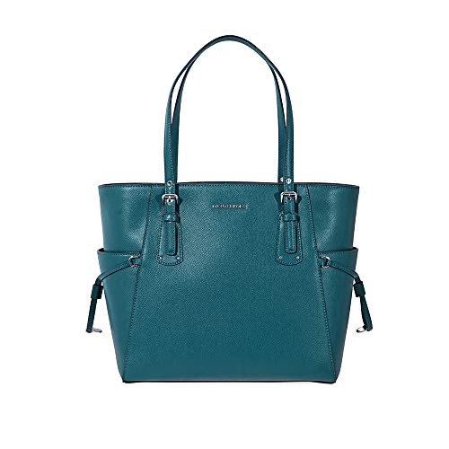 Michael Kors Voyager Crossgrain Leather Tote Teal
