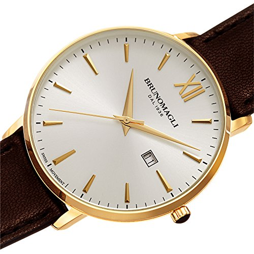 Bruno Magli Men's Roma 1161 Swiss Quartz Silver Dial Italian Smooth Leather Strap Watch