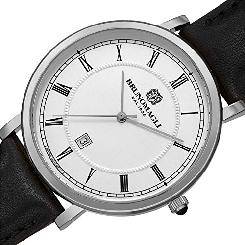 Bruno Magli Men's Milano 1201 Swiss Quartz White Dial Italian Leather Strap Watch