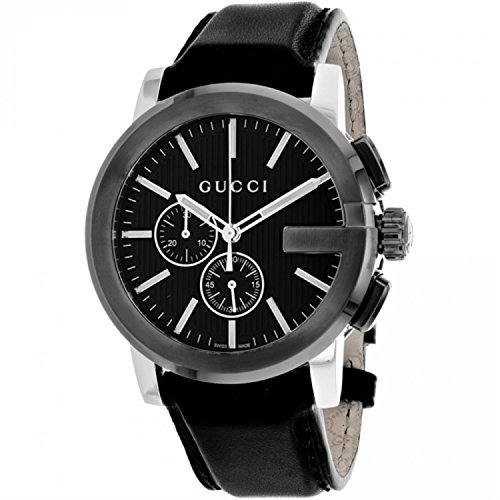 Gucci G-Chrono Black Dial Leather Mens Watch