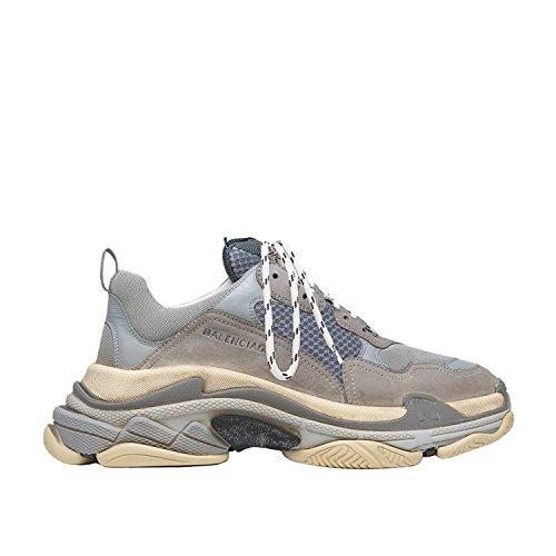 Balenciaga Men's & Women's Vintage Triple S Trainers Fashion Sneakers Grey(Size 45)