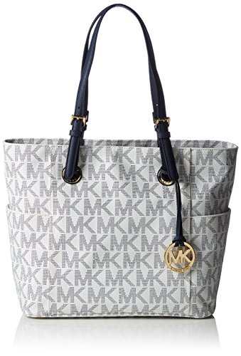 MICHAEL Michael Kors Jet Set Signature Tote Navy/White
