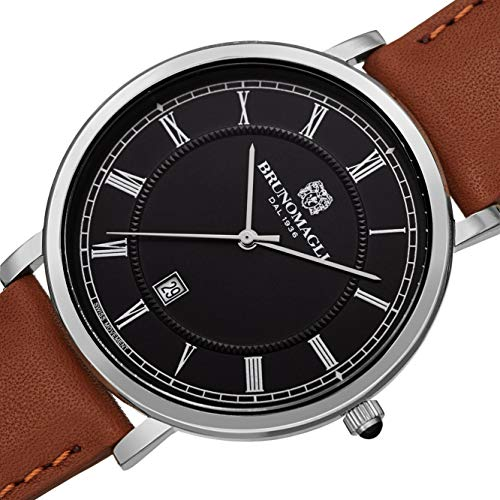 Bruno Magli Men's Milano 1201 Swiss Quartz Black Dial Italian Leather Strap Watch