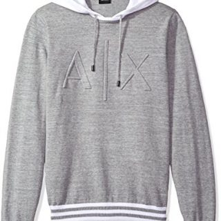 A X Armani Exchange Men's Ax Logo Hoodie Sweater Knit, Alloy, Small
