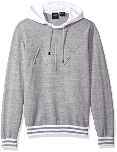A|X Armani Exchange Men's Ax Logo Hoodie Sweater Knit, Alloy, Small