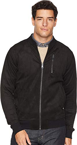 Ben Sherman Men's Faux Suede Bomber Jacket Black Small