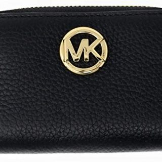 Michael Kors Fulton Leather Zip Around Coin Case (Black)