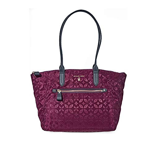 Michael Kors Kelsey Medium Floral Nylon Tote- Plum