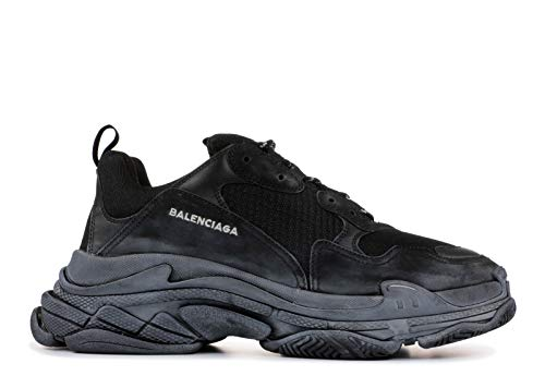 Balenciaga Unisex Triple S Mesh Nubuck Leather Platform Sneakers Vintage Trainers Black