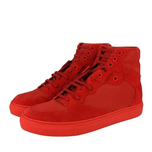 Balenciaga Men's Hi Top Red Nu-Buck Suede/Rubber Sneaker