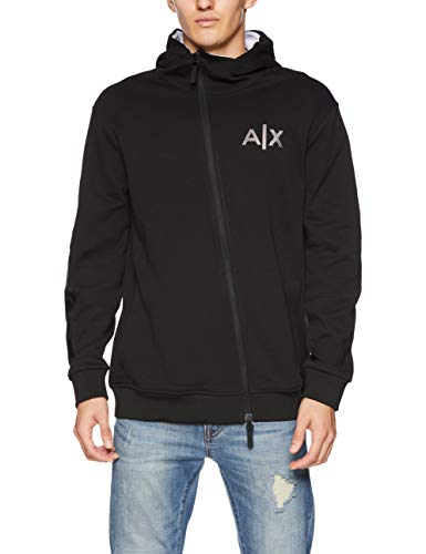 A|X Armani Exchange Men's Aysemtrical Zipper Hoodie, Black, L