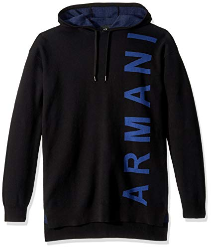 A|X Armani Exchange Men's Side Logo Hoodie, Black, M