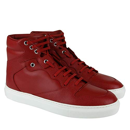Balenciaga Men's Hi Top Dark Red Leather/Coated Canvas