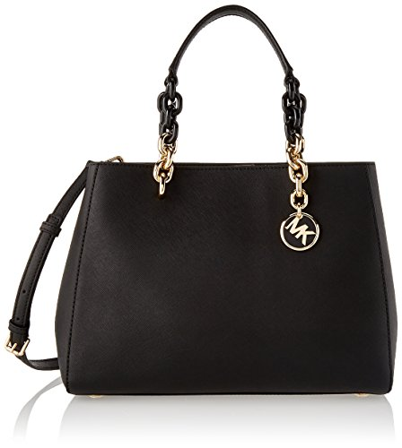 Michael Kors Womens Cynthia Satchel Black (BLACK)
