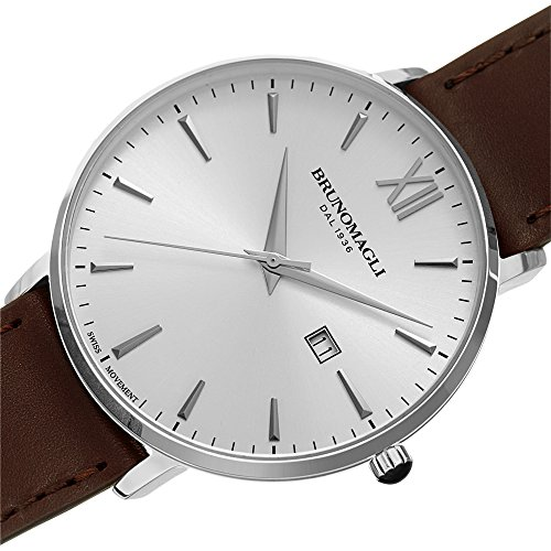Bruno Magli Men's Roma 1161 Swiss Quartz Silver Dial Italian Brown Smooth Leather Strap Watch