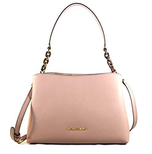 Michael Kors Sofia Large East West Saffiano Leather Satchel Crossbody Bag Purse Tote Handbag (Fawn)