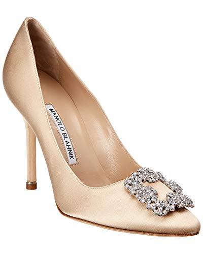 Manolo Blahnik Hangisi Satin Pump, 40, Brown