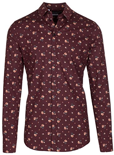 Dolce & Gabbana Men's 'Sicilia' Red Roses Floral Print Button Down Dress Shirt