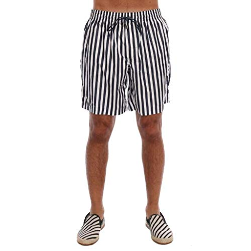 Dolce & Gabbana Blue White Striped Beachwear Shorts