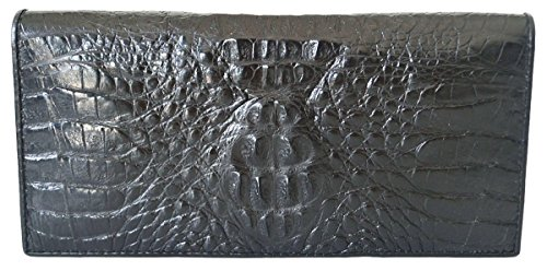 Authentic M Crocodile Skin Women's Long Bifold Head Black
