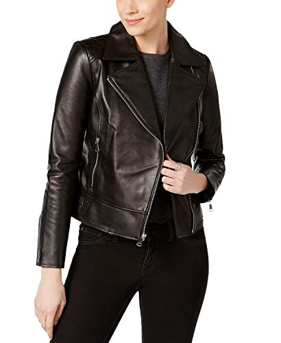 Marc New York Women's Leah Leather Moto Jacket, Black Size Small