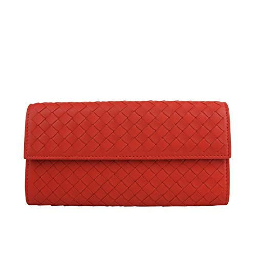 Bottega Veneta Women's Intercciaco Woven Red Leather Wallet