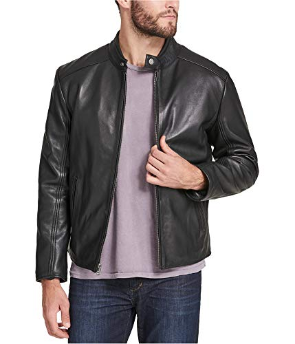 Marc New York Mens Leather Moto Motorcycle Jacket Black L