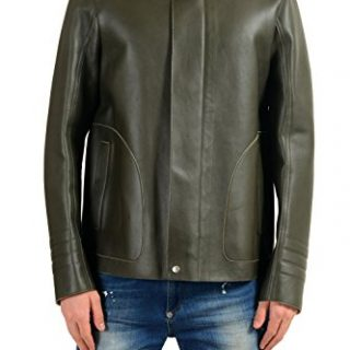 Gucci Men's 100% Leather Green Full Zip Jacket Size US 3XL IT 58