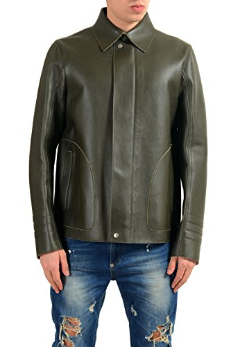 Gucci Men's 100% Leather Green Full Zip Jacket Size US 3XL IT 58