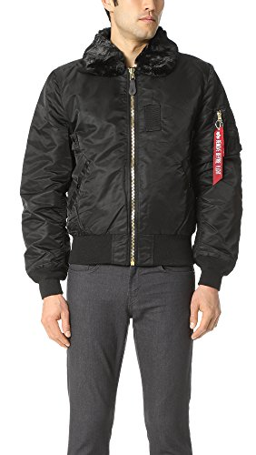 Alpha Industries Men's B-15 Slim-Fit Bomber Flight Jacket,Black,Small