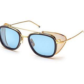 Sunglasses THOM BROWNE Navy-Yellow Gold w/ Dark Blue-Black Flas