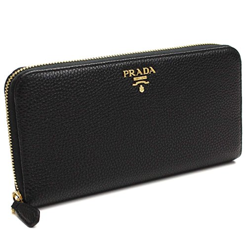 Prada Womens Vitello Grain Leather Wallet Nero (Black)