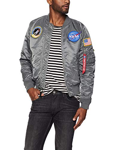 Alpha Industries Men's NASA Bomber Flight Jacket, Gunmetal, Large