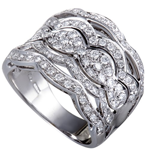 Damiani 18K White Gold Full Diamond Pave Lace Band Ring