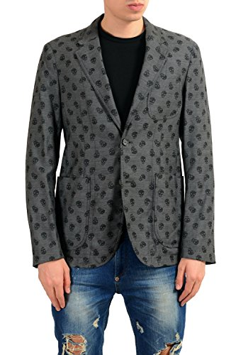 Alexander McQueen Men's 100% Wool Skull Print Two Button Blazer