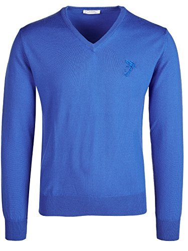 Versace Collection Medium Blue V-Neck Wool Sweater (2XL)
