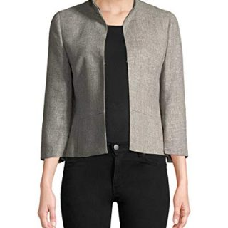 Akris Womens Stand Collar Blazer, 6 Grey