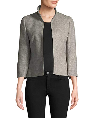 Akris Womens Stand Collar Blazer, 6 Grey