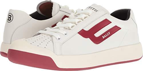 BALLY Men's New Competition Retro Sneaker White/Red 6 D UK