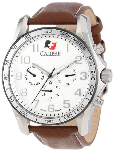"""Calibre Men's """"Buffalo"""" Stainless Steel and Brown Leather Watch"""