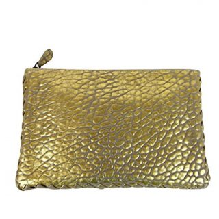 Bottega Veneta Pouch Gold Leather Clutch Bag With Woven Trim