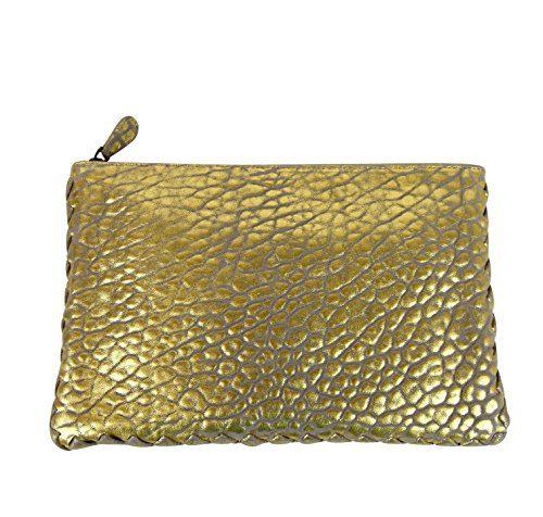 Bottega Veneta Pouch Gold Leather Clutch Bag With Woven Trim